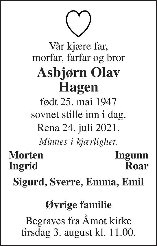 Asbjørn Olav Hagen Dødsannonse