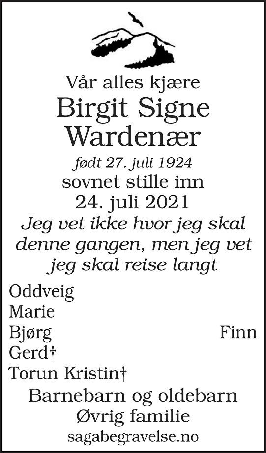 Birgit Signe Wardenær Dødsannonse