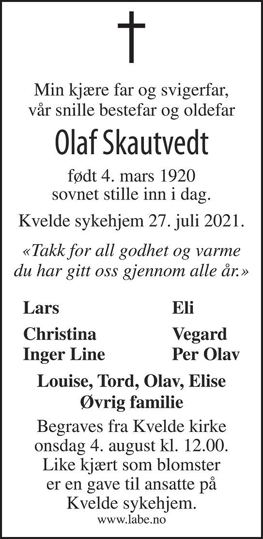 Olaf Skautvedt Dødsannonse