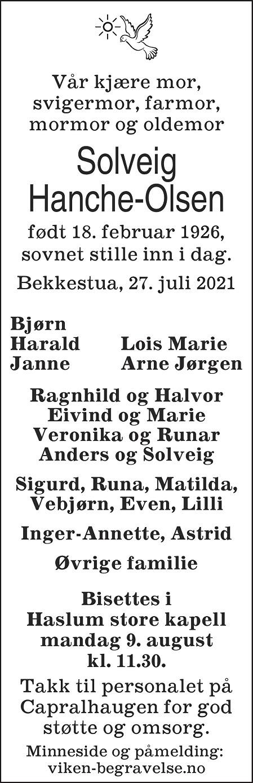 Solveig Hanche-Olsen Dødsannonse