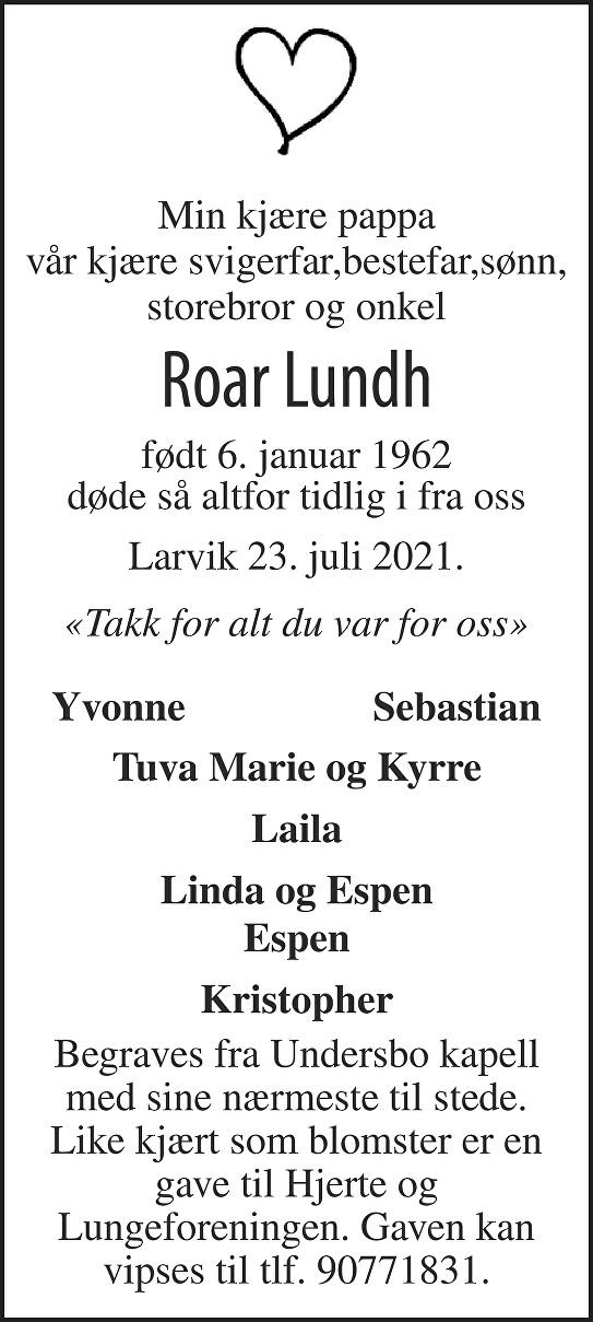 Roar Lundh Dødsannonse