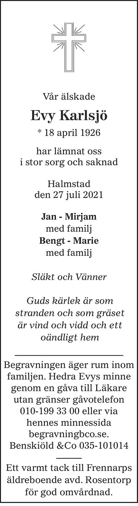 Evy  Karlsjö Death notice