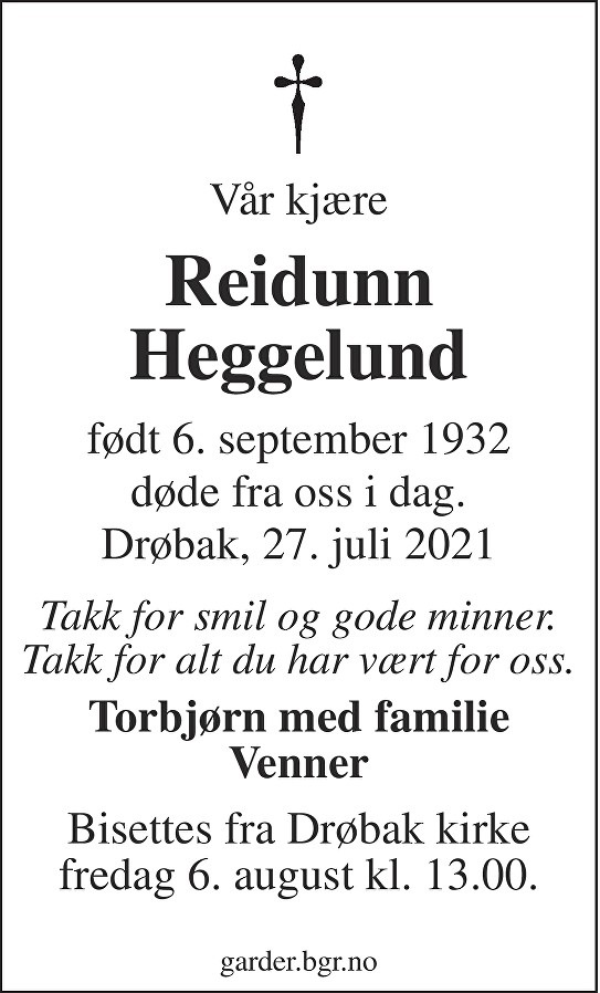 Reidunn Heggelund Dødsannonse