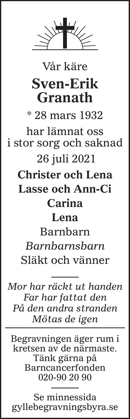 Sven-Erik Granath Death notice