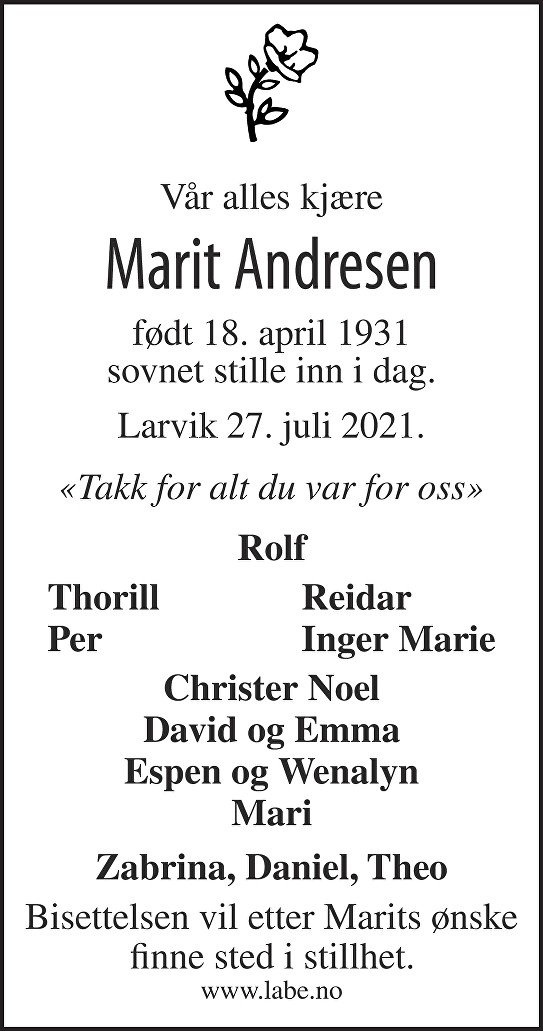 Marit Andresen Dødsannonse