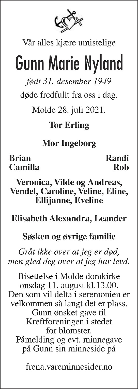 Gunn Marie Nyland Dødsannonse