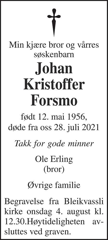 Johan Kristoffer Forsmo Dødsannonse
