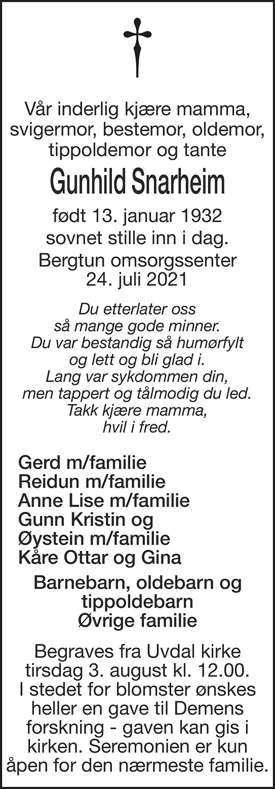 Gunhild Snarheim Dødsannonse