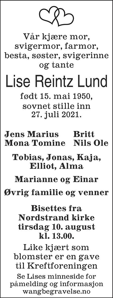 Lise Reintz Lund Dødsannonse