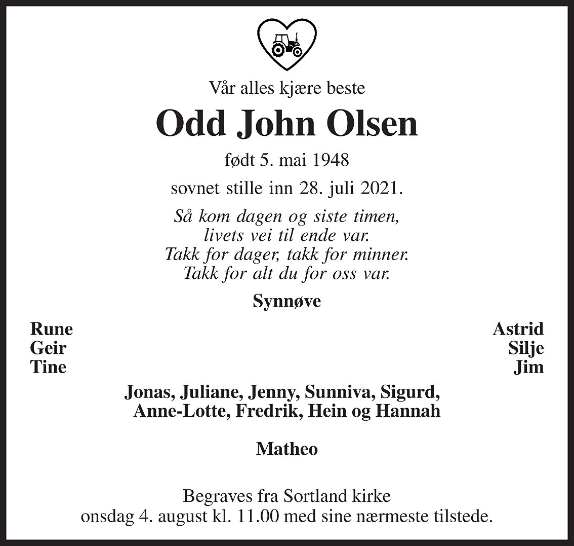 Odd John Olsen Dødsannonse