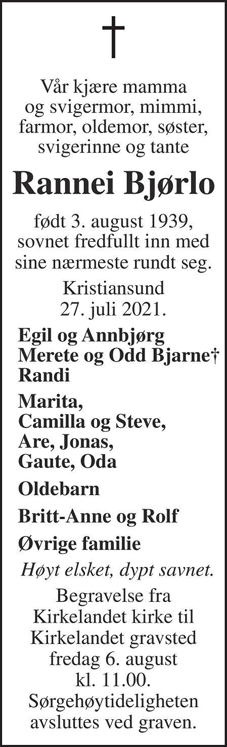Rannei Bjørlo Dødsannonse