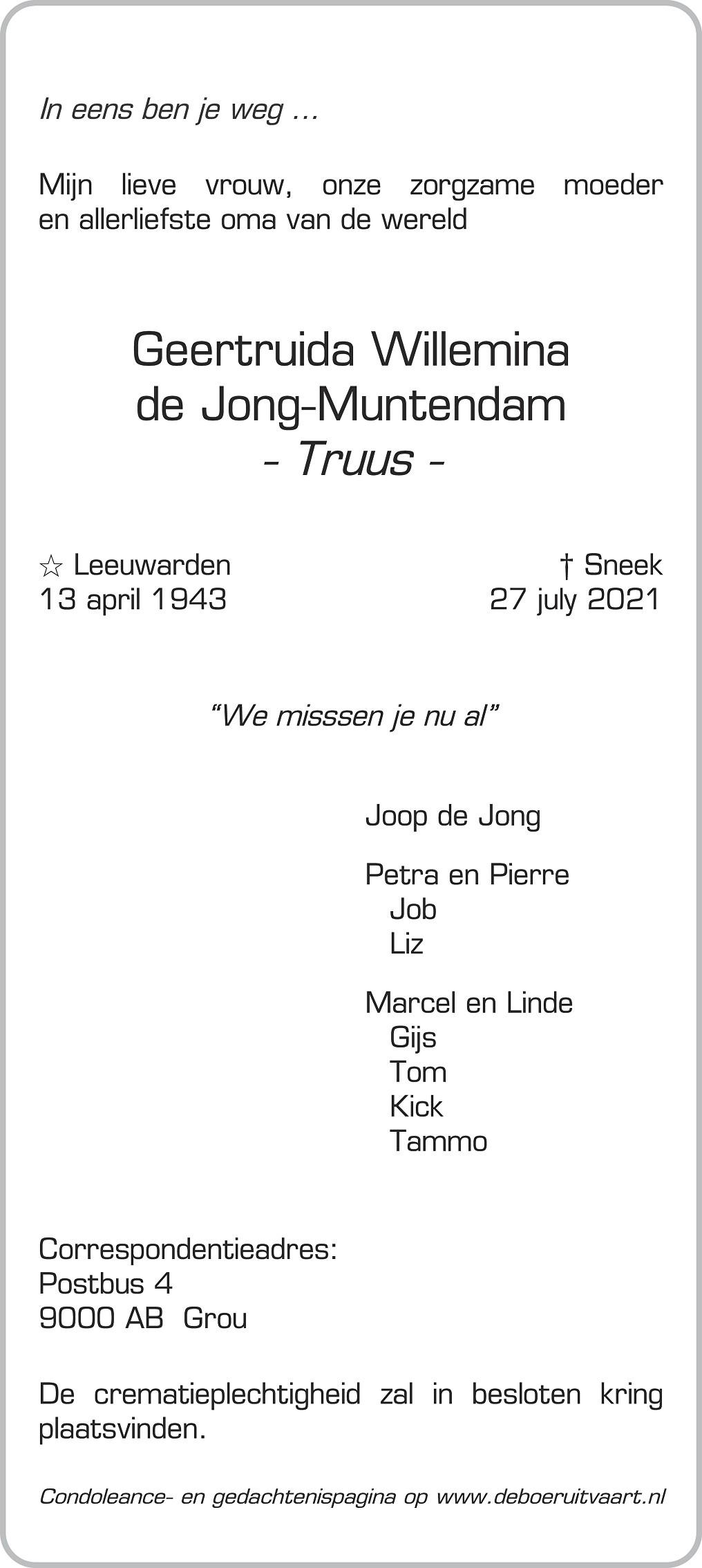 Truus de Jong Death notice