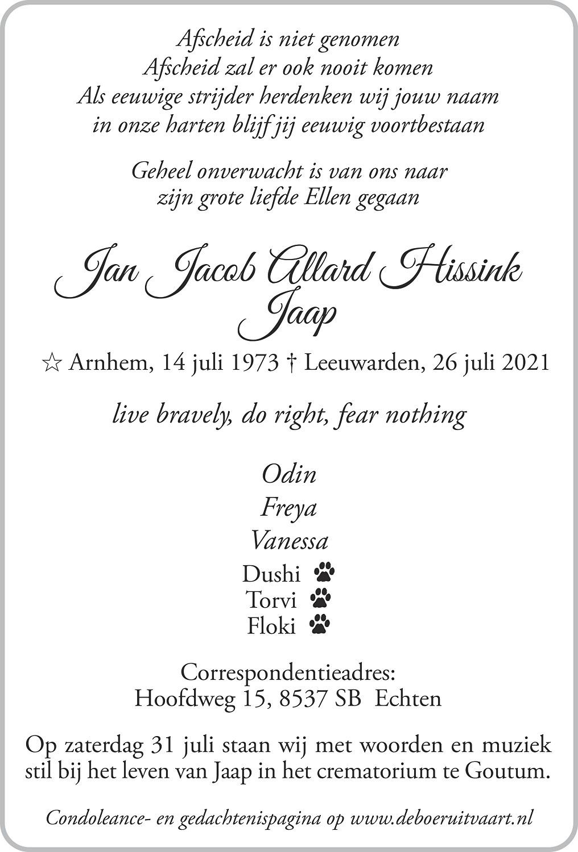 Jaap Hissink Death notice