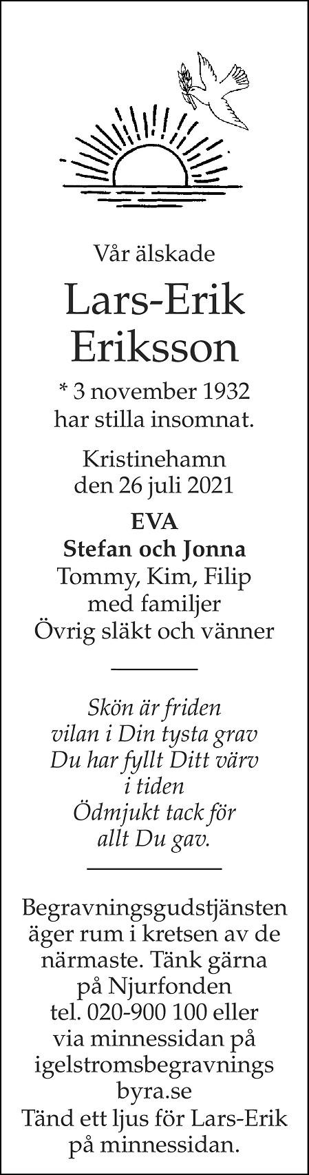 Lars-Erik Eriksson Death notice