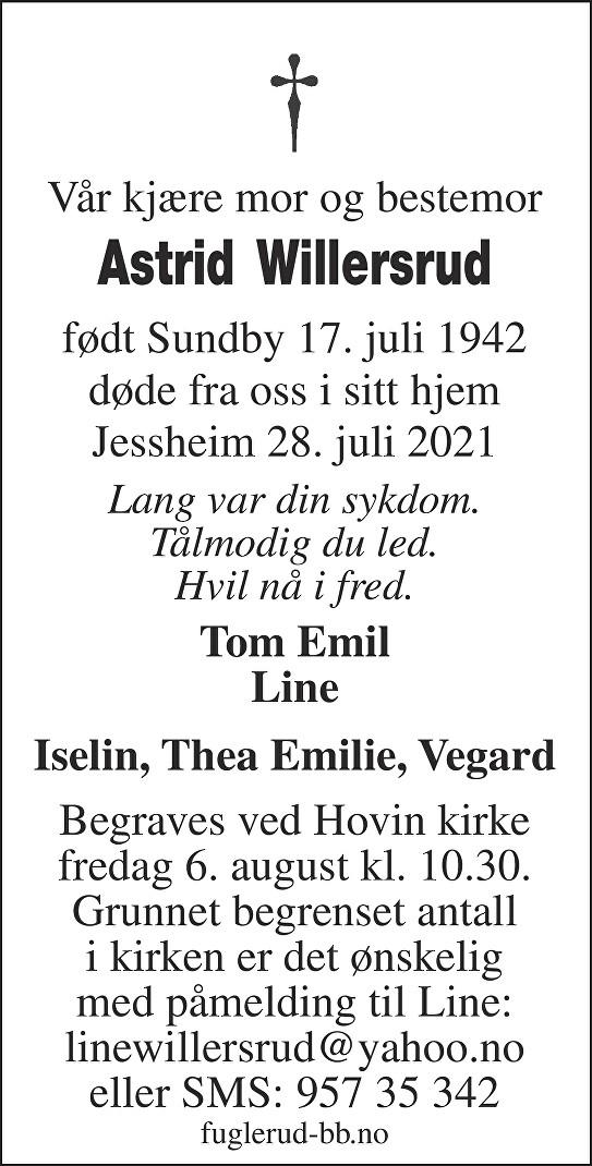 Astrid Willersrud Dødsannonse