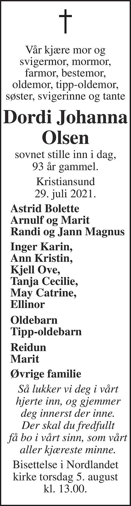 Dordi Johanna Olsen Dødsannonse