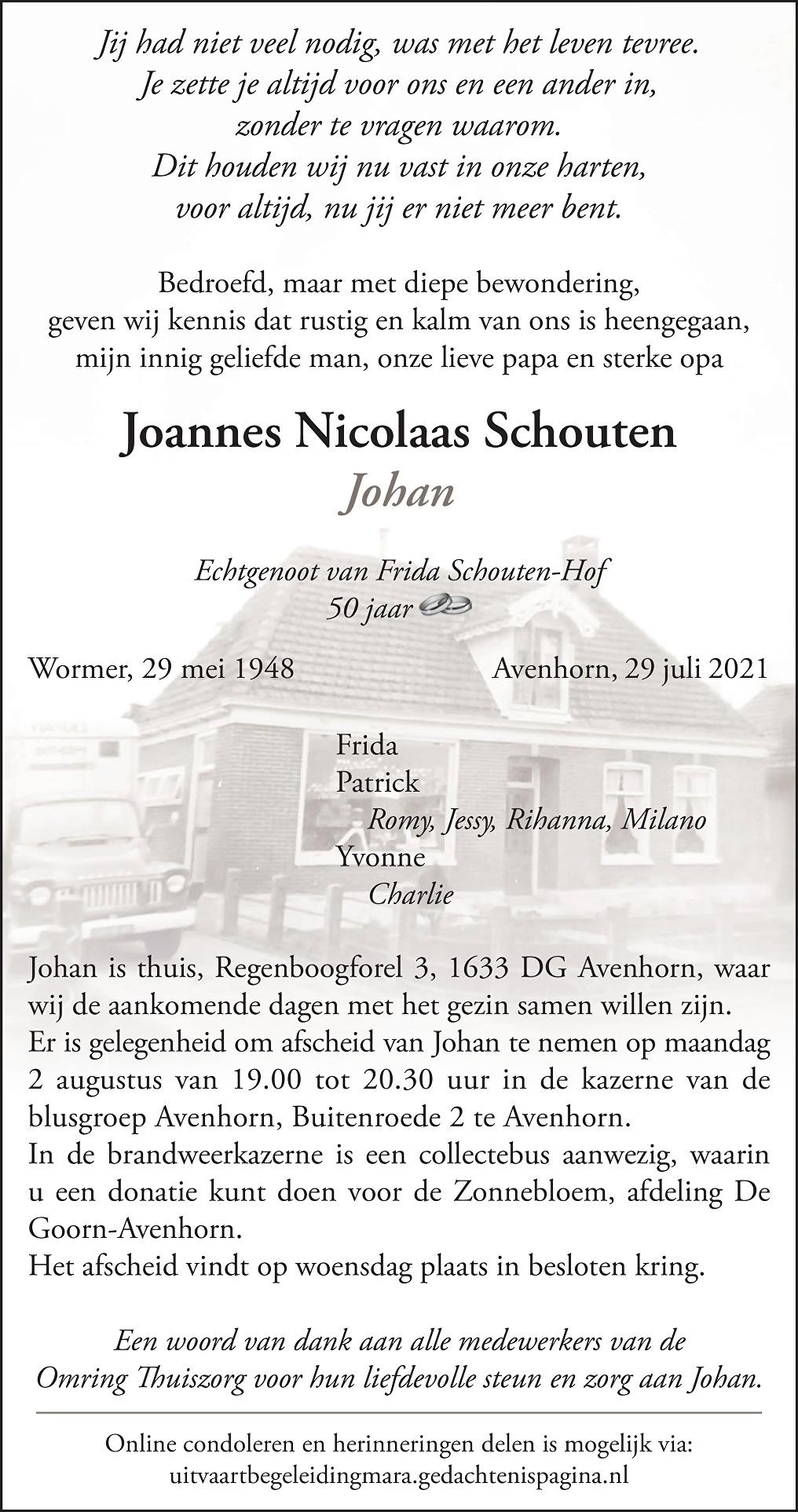 Johan  Schouten Death notice