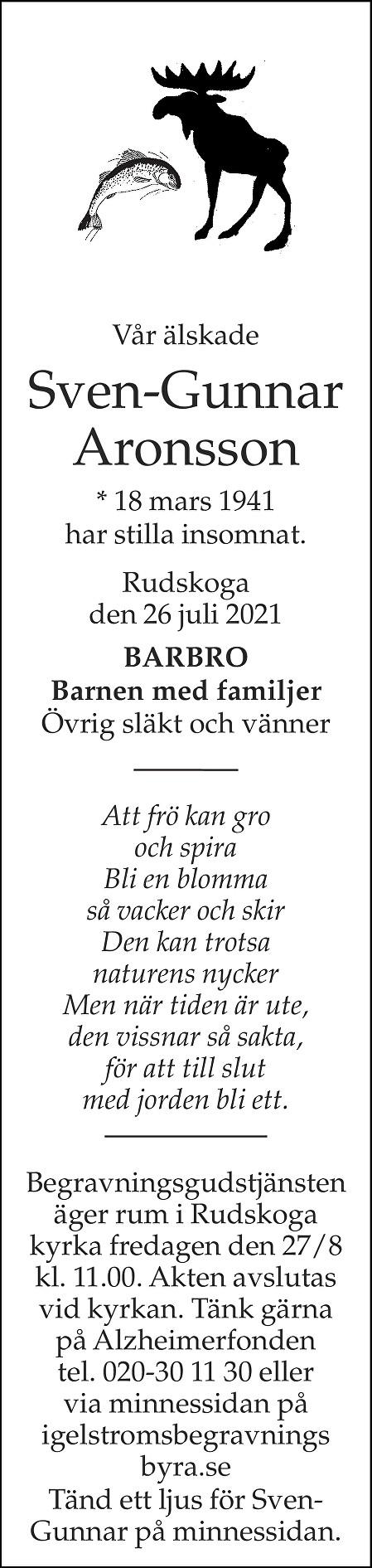 Sven-Gunnar Aronsson Death notice