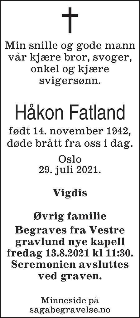 Håkon Fatland Dødsannonse