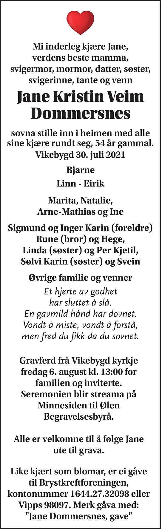 Jane Kristin Veim Dommersnes Dødsannonse