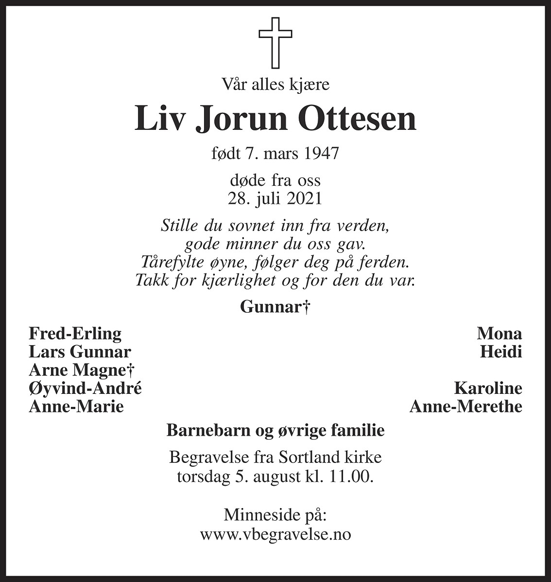 Liv Jorun Ottesen Dødsannonse