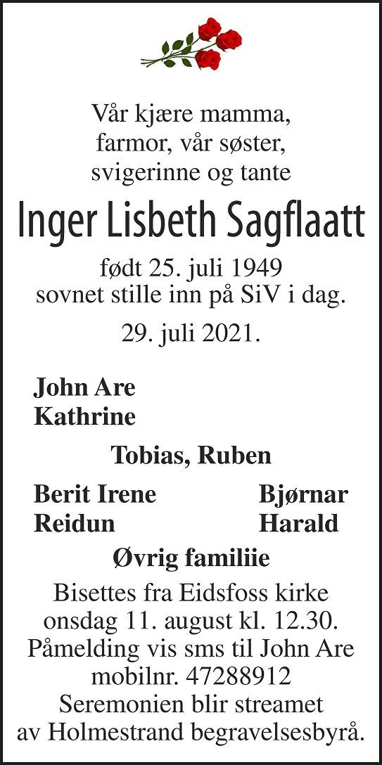 Inger Lisbeth Sagflaatt Dødsannonse