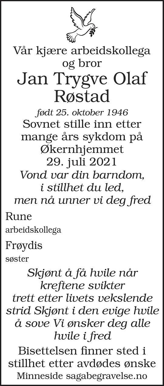 Jan Trygve Olaf  Røstad Dødsannonse