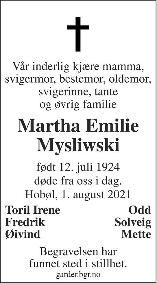 Martha Emilie Mysliwski Dødsannonse