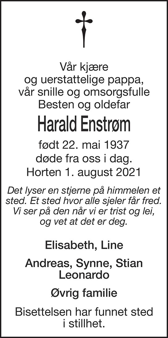Harald Georg Enstrøm Dødsannonse