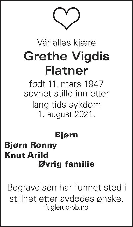 Grethe Vigdis Flatner Dødsannonse