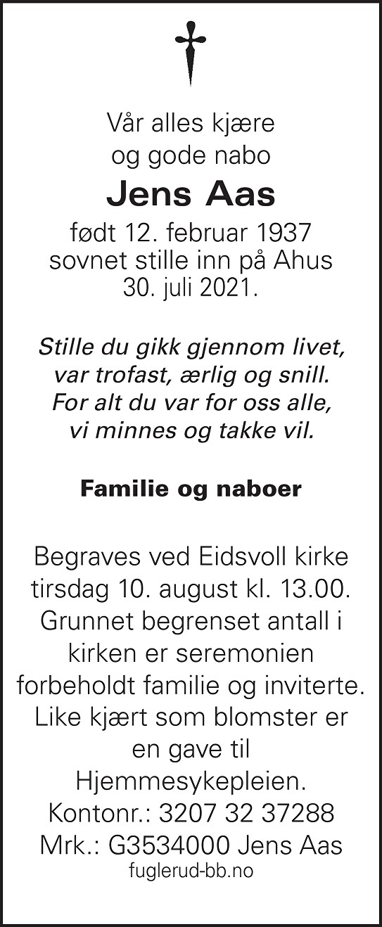 Jens Aas Dødsannonse