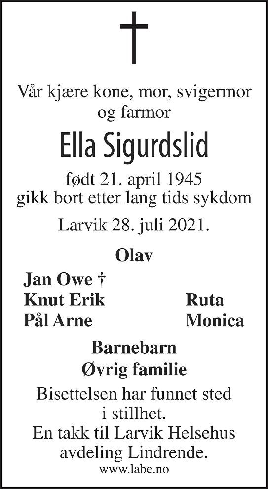 Ella Sigurdslid Dødsannonse