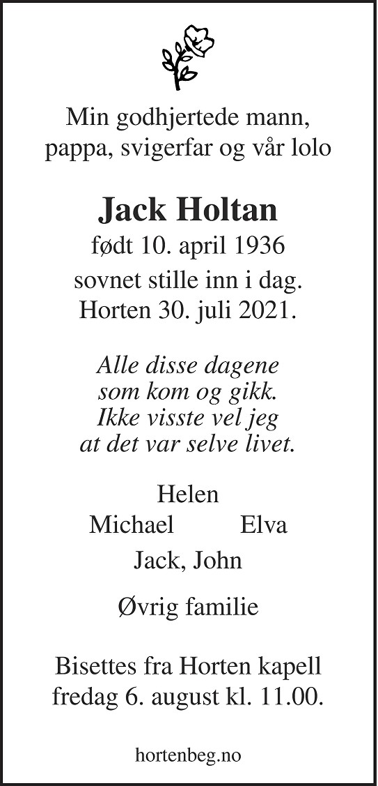 Jack Holtan Dødsannonse