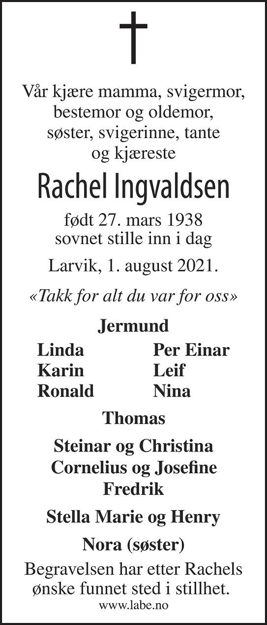 Rachel Ingvaldsen Dødsannonse