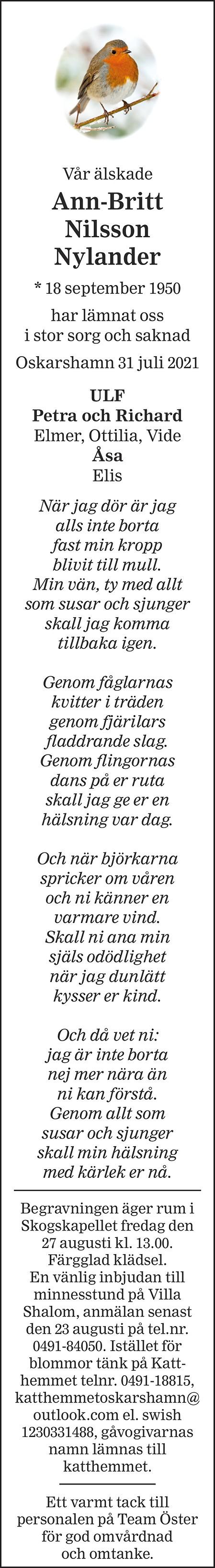 Ann-Britt Nilsson Nylander Death notice