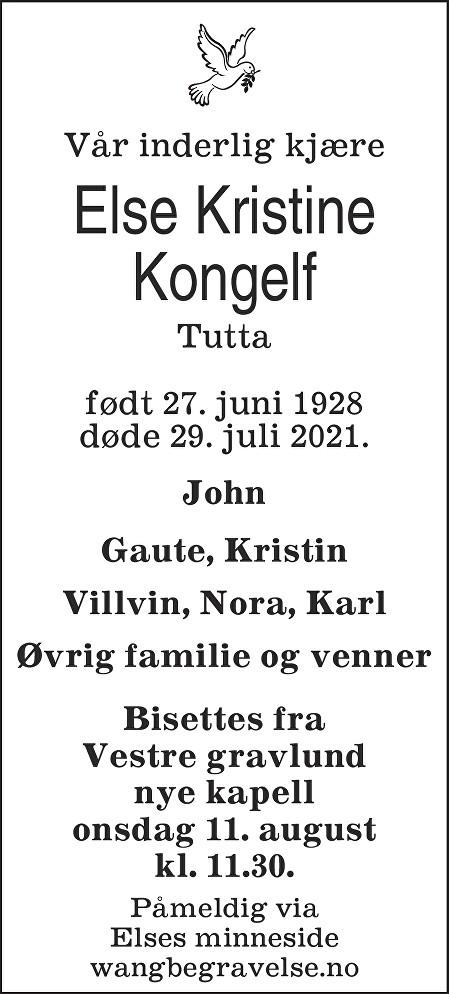 Else Kristine Kongelf Dødsannonse