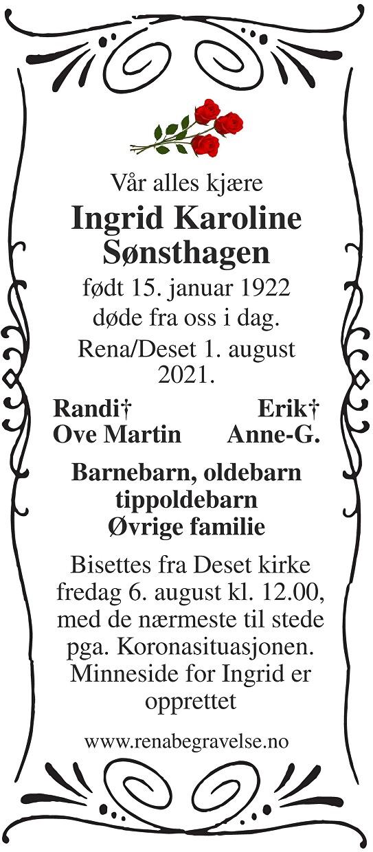 Ingrid Karoline Sønsthagen Dødsannonse