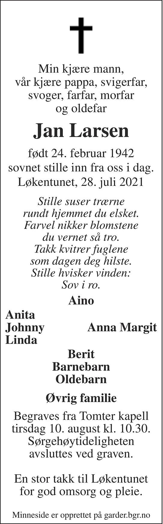Jan Larsen Dødsannonse