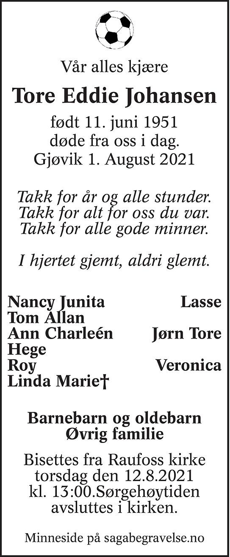 Tore Eddie  Johansen Dødsannonse