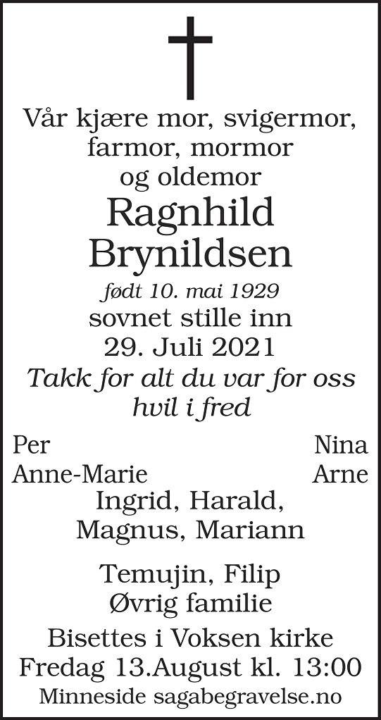 Ragnhild  Brynildsen Dødsannonse