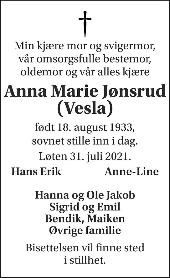 Anna Marie Jønsrud Dødsannonse