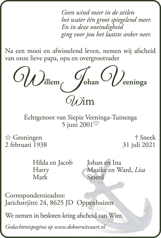 Wim Veeninga Death notice