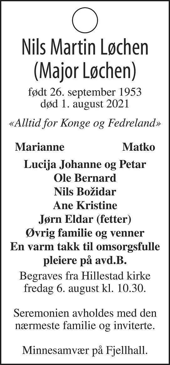 Nils Martin Løchen Dødsannonse