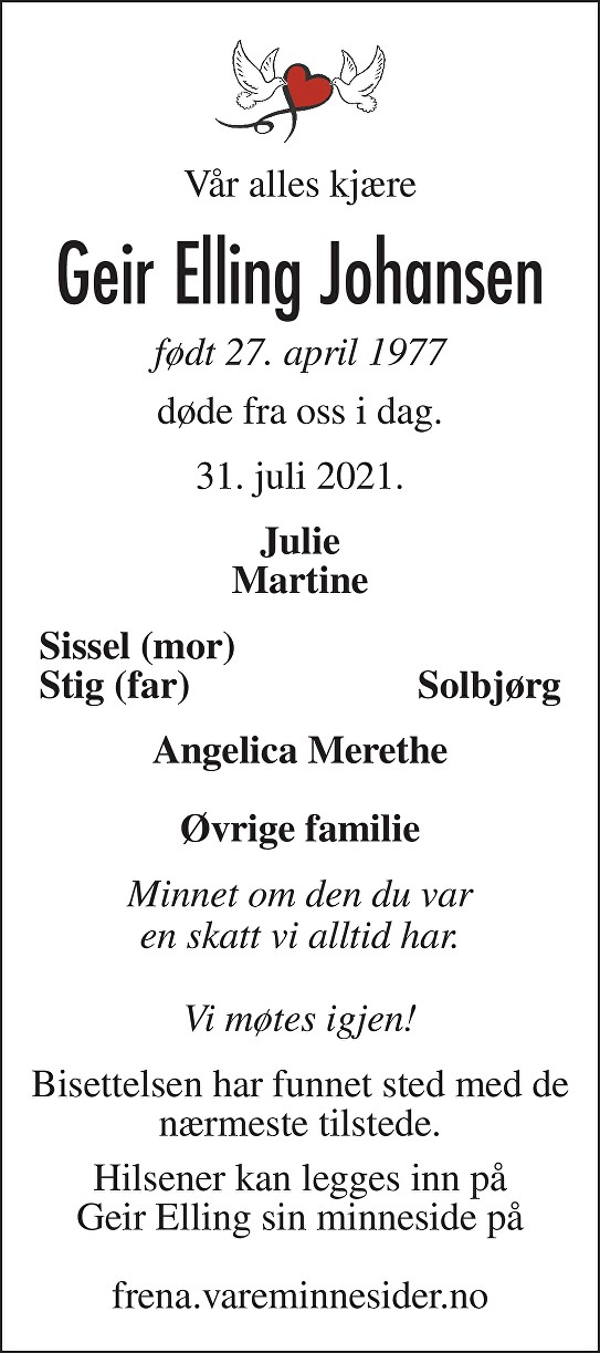Geir Elling Johansen Dødsannonse