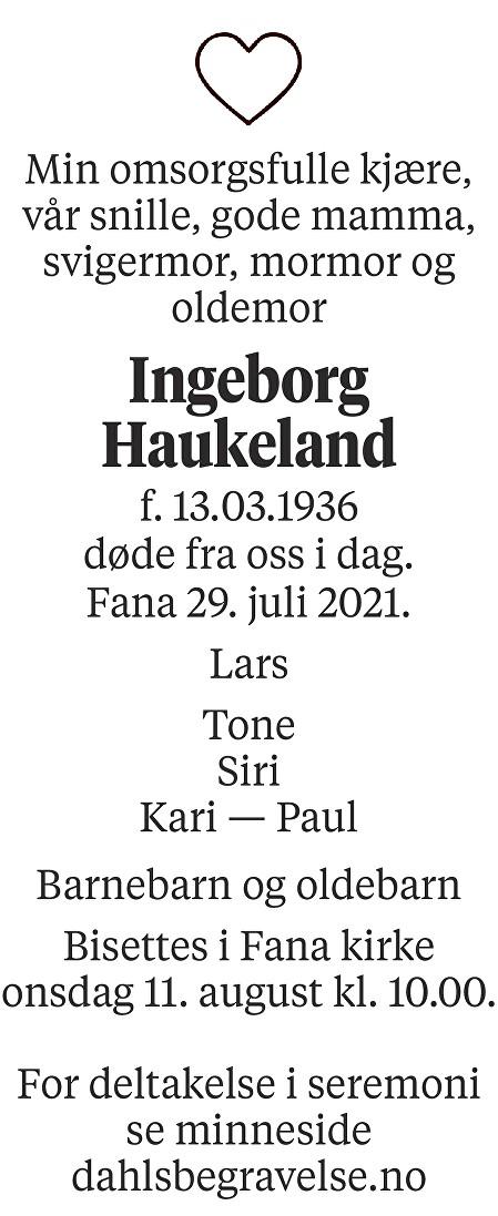 Ingeborg Haukeland Dødsannonse