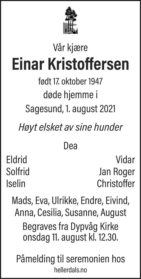 Einar Kjell Kristoffersen Dødsannonse