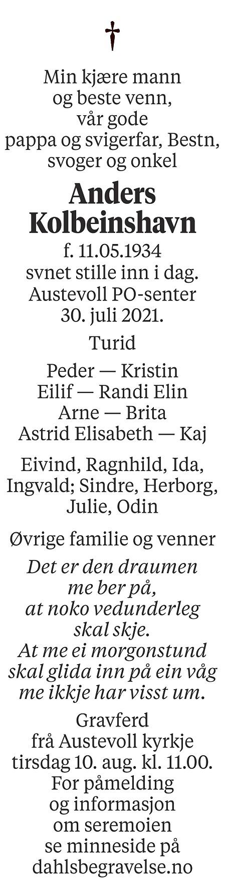 Anders Kolbeinshavn Dødsannonse