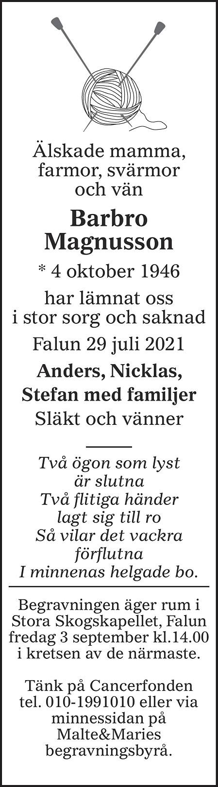 Barbro Magnusson Death notice