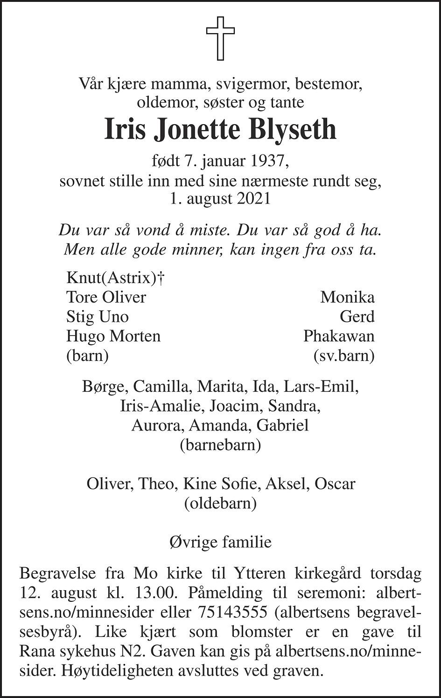 Iris Jonette Blyseth Dødsannonse