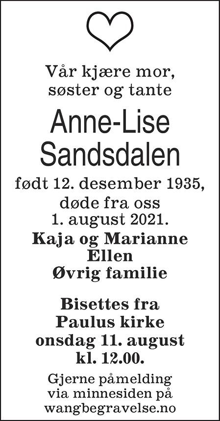 Anne-Lise Sandsdalen Dødsannonse